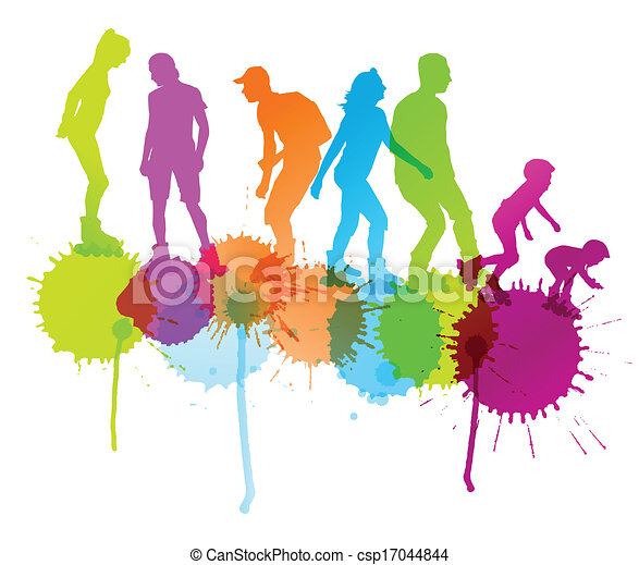 Rollerskating silhouettes vector background concept with ink splashes for poster - csp17044844