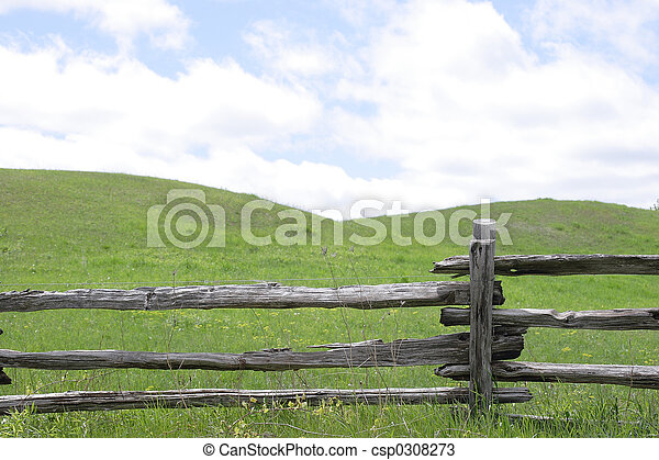 Stock Photos of rolling hills fence - Rolling hills and split rail ...