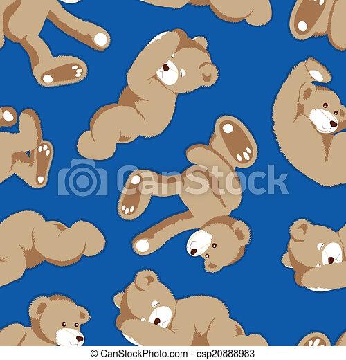 Rolling teddy bear seamless pattern - csp20888983