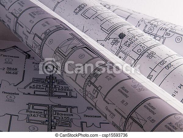 rollo, arquitectónico, planes - csp15593736