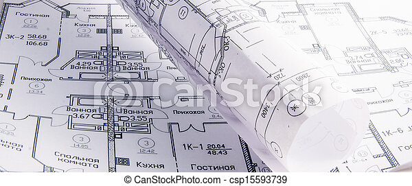 rollo, arquitectónico, planes - csp15593739