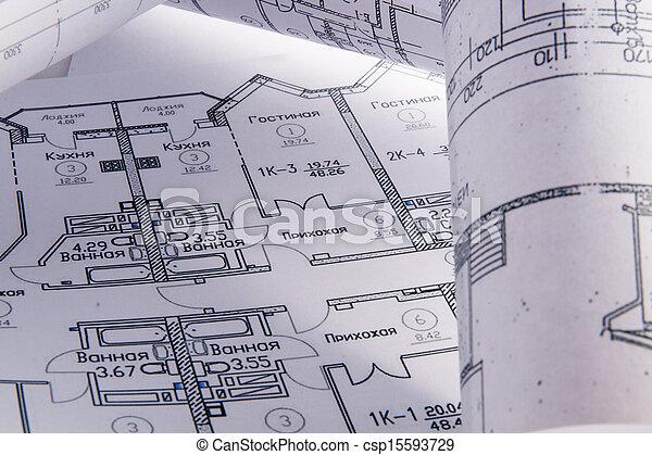 rollo, arquitectónico, planes - csp15593729
