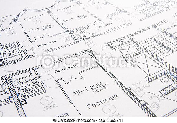 rollo, arquitectónico, planes - csp15593741