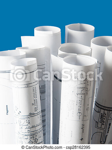 Rolls of architecture blueprints and house plans on the stock rolls of architecture blueprints and house plans csp28162395 malvernweather Images