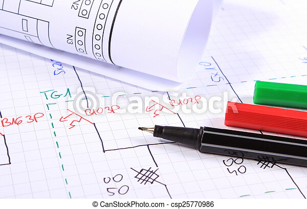Rolls of electrical diagrams and accessories for drawing - csp25770986
