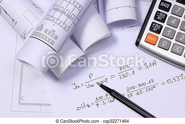 Rolls of electrical diagrams, calculator and mathematical calculations - csp32271464