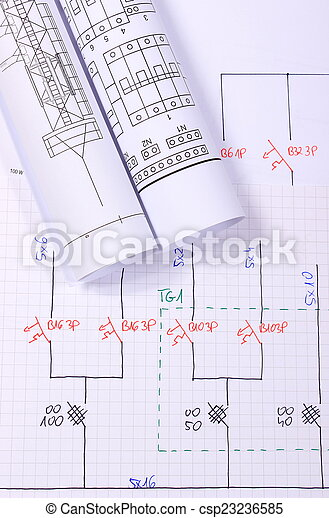 Rolls of electrical diagrams - csp23236585