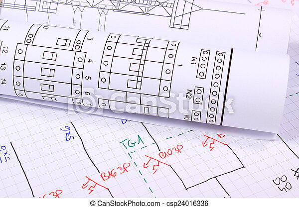 Rolls of electrical diagrams - csp24016336