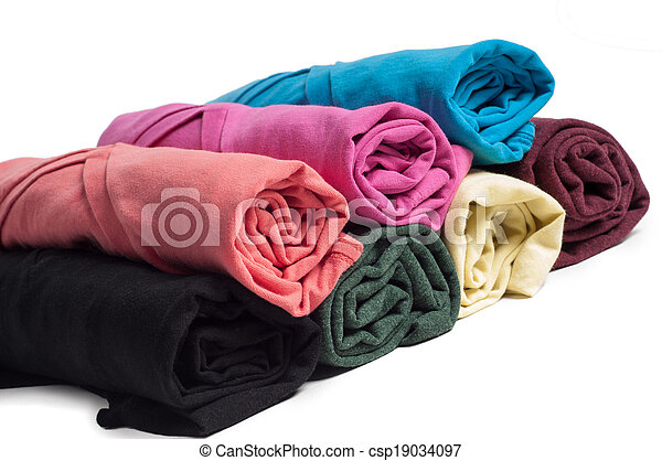 Rolls of multicolored clothes - csp19034097
