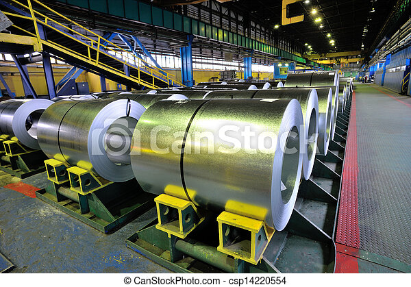 rolls of steel sheet in a plant - csp14220554