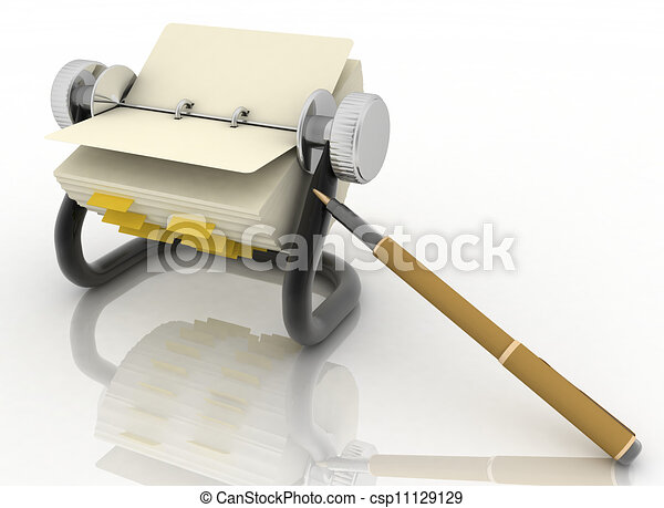 rolodex and pen on a white - csp11129129