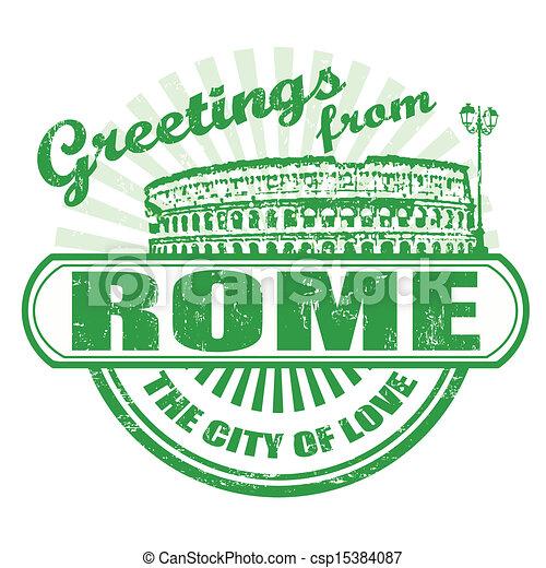 rom, hälsningar, stämpel - csp15384087
