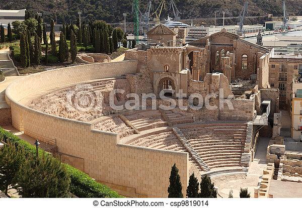 Roman Amphitheater ruin in Cartagena, Spain - csp9819014