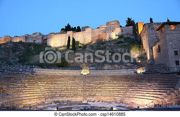 Roman amphitheatre ruin in Malaga, Andalusia Spain - csp14610885