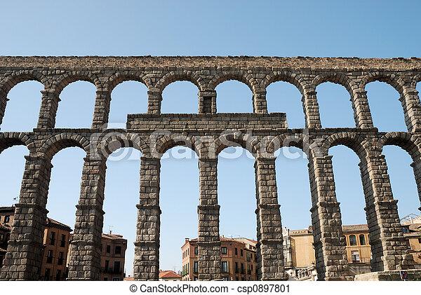 Roman Aqueduct in Segovia, Spain - csp0897801