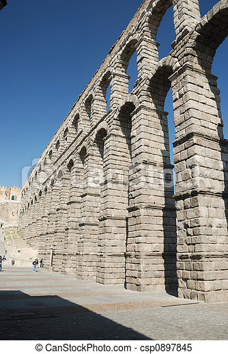 Roman Aqueduct in Segovia, Spain - csp0897845