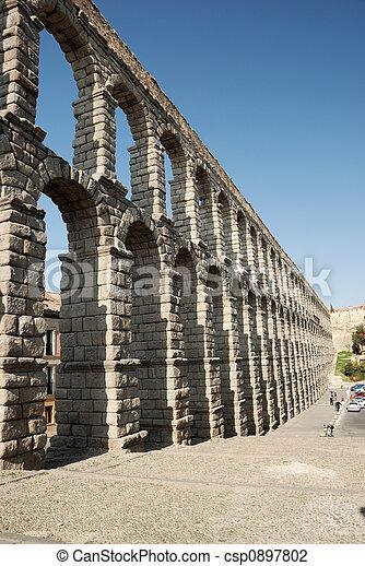 Roman Aqueduct in Segovia, Spain - csp0897802