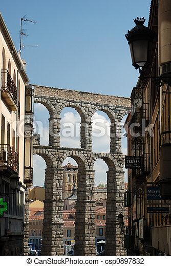 Roman Aqueduct in Segovia, Spain - csp0897832