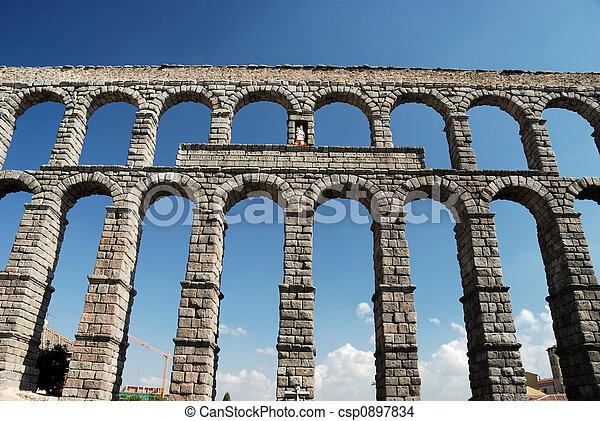 Roman Aqueduct in Segovia, Spain - csp0897834