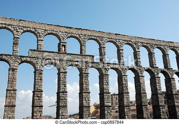 Roman Aqueduct in Segovia, Spain - csp0897844