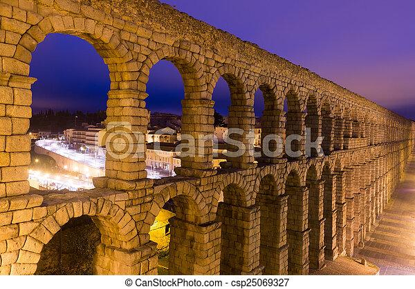roman aqueduct in Segovia, Spain - csp25069327