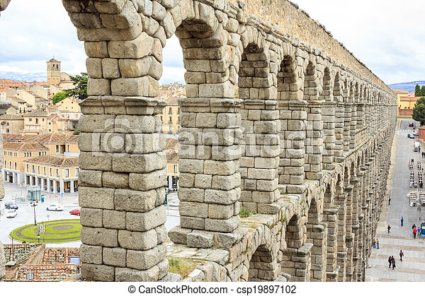 Roman aqueduct in Segovia, Spain - csp19897102