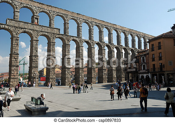 Roman Aqueduct in Segovia, Spain - csp0897833