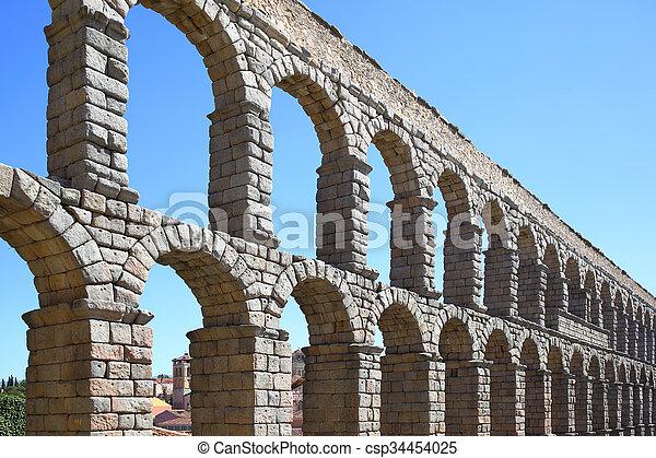 Roman aqueduct in Segovia - csp34454025