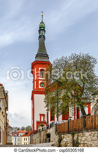 Roman Catholic church, Loket, Czech republic - csp50305168