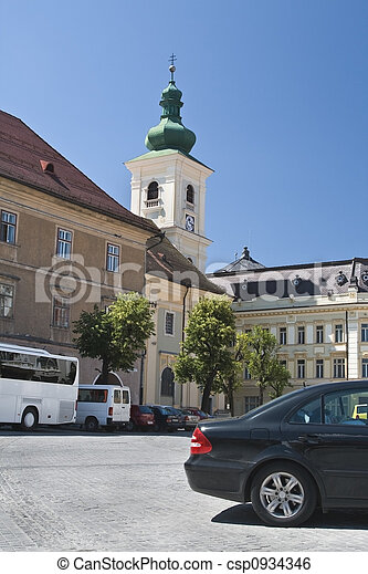 Roman-Catholic Church tower-Sibiu - csp0934346