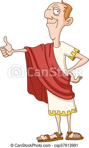 Roman emperor with thumb up - csp37613991