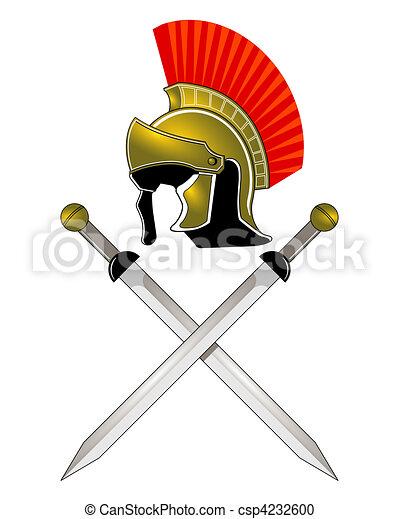 Roman Helmet and swords - csp4232600