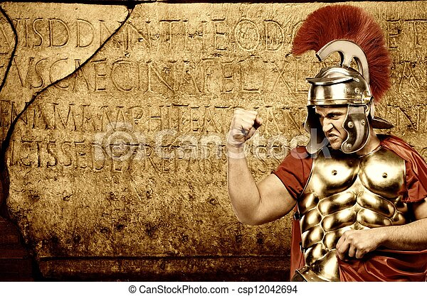 Roman letters texture. Legionary soldier ready for a war stock ...
