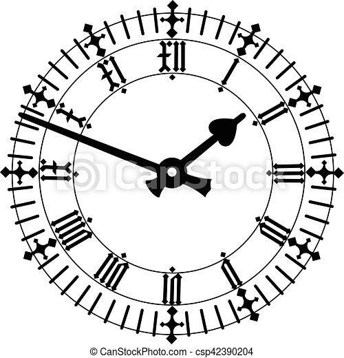 elegant roman numeral clock vector eps 10