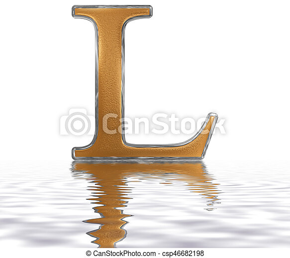 Roman Numeral L Quinquaginta 50 Fifty Reflected On The Water
