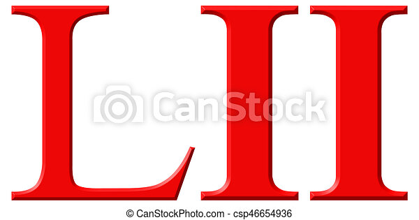 Roman numeral LII, duo et quinquaginta, 52, fifty two, isolated on white