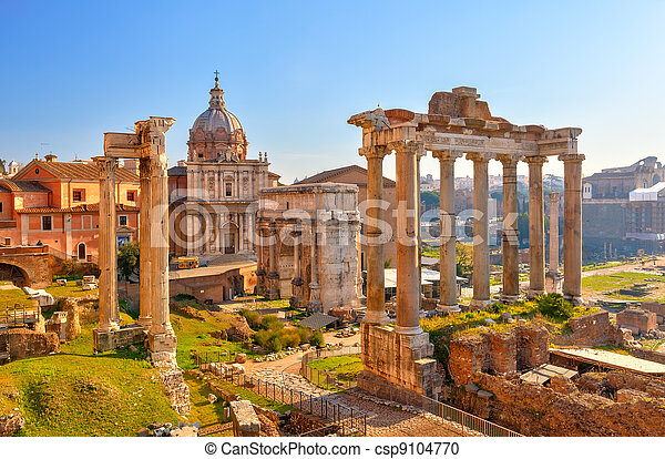 Roman ruins in Rome, Forum - csp9104770