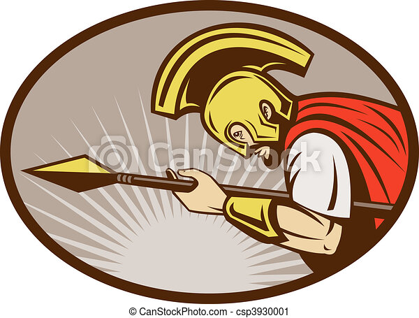 Illustration Of A Roman Soldier Or Gladiator Attacking With