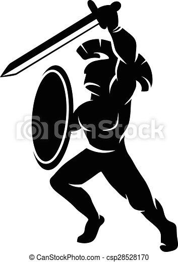 Roman soldier silhouette - csp28528170
