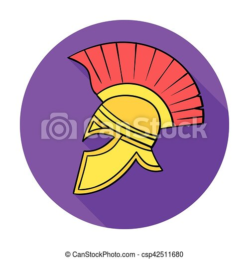 Roman Soldiers Helmet Icon In Flat Style Isolated On White