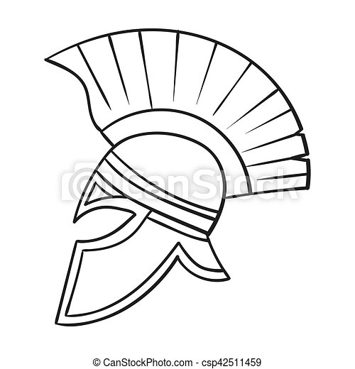 Roman Soldiers Helmet Icon In Outline Style Isolated On Clipart