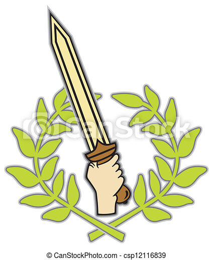 Roman sword and wreath - csp12116839