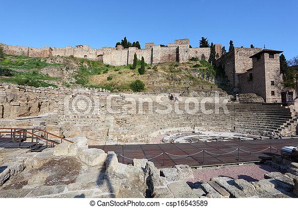 Roman theatre ruin in Malaga, Andalusia, Spain - csp16543589