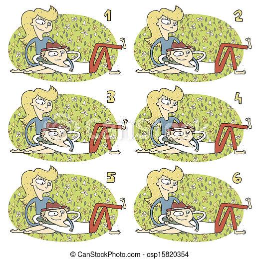 romance, paires, visuel, allumette, game: - csp15820354