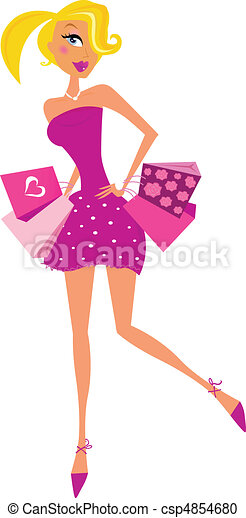 Romance shopping woman in pink - csp4854680