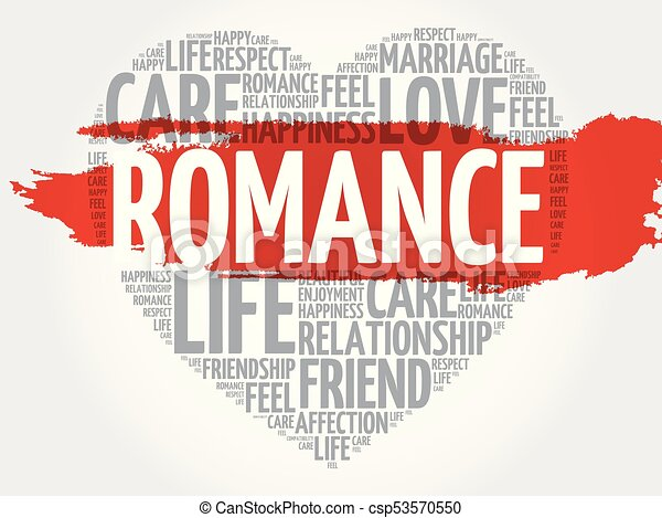 romance word cloud collage heart concept background