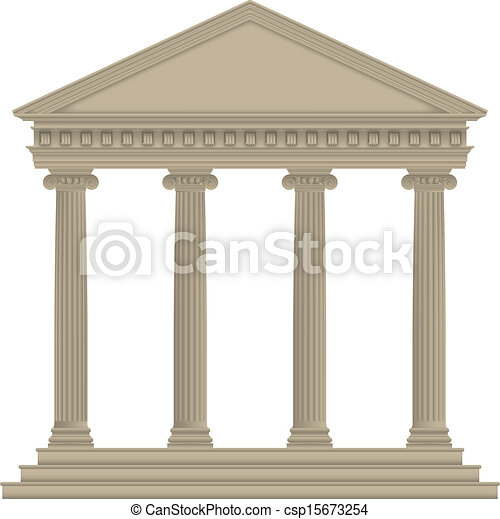 Roman Greek Temple With Ionic Columns High Detailed Clipart