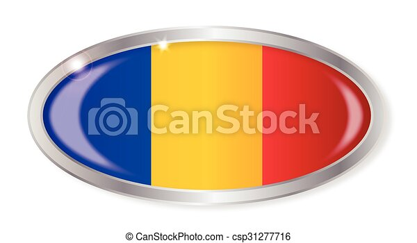 Romania Flag Oval Button - csp31277716