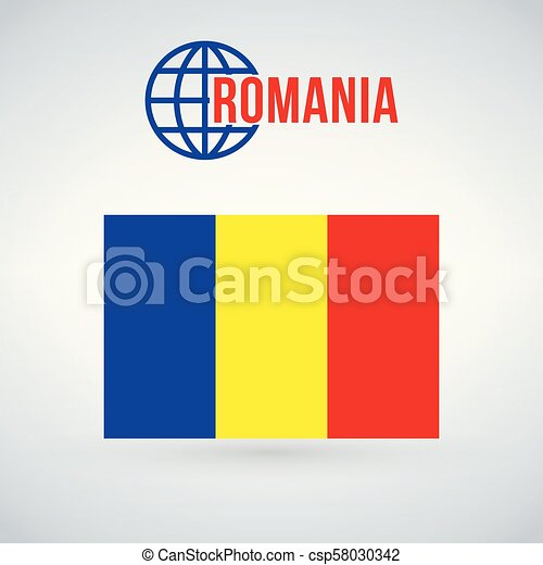 Romania flag, vector illustration isolated on modern background with shadow. - csp58030342