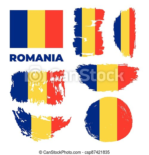 Romania flag, vector illustration on a white background. - csp87421835